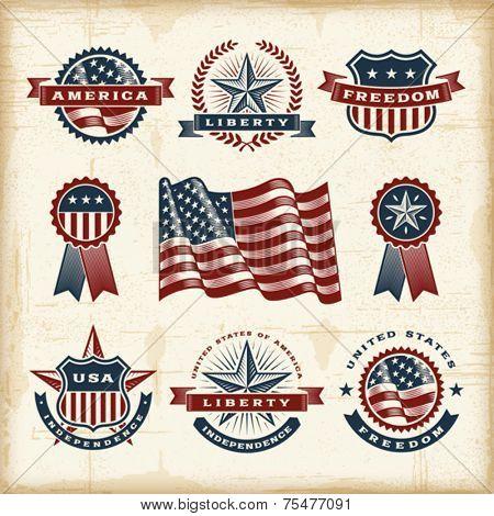 Vintage American labels set. Fully editable EPS10 vector.