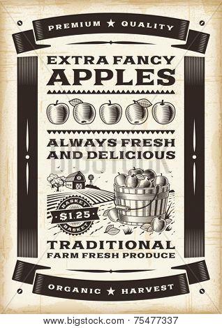 Vintage apple harvest poster. Editable EPS10 vector.