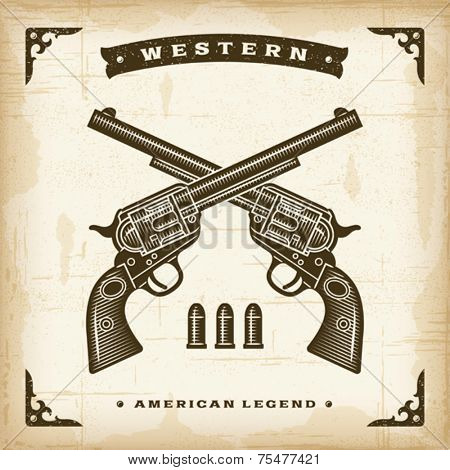 Vintage Western Revolvers. Editable EPS10 vector illustration.