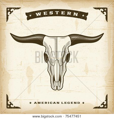 Vintage Western Bull Skull. Editable EPS10 vector illustration.