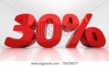Thirty percent off. Discount 30.  Percentage. 3D illustration
