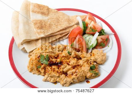 Circassian chicken, shredded breast in a walnut sauce, served with salad and bread poster