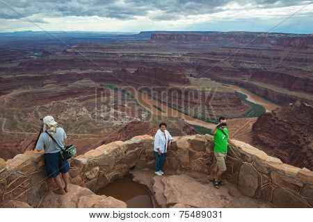 Tourists and Photography Desert Canyon Landscape