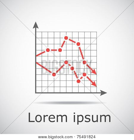 Drop Chart With Two Graphs On Grid And Gradient Background