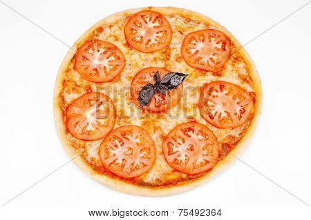 Vegetarian Pizza With Cheese And Tomatoes