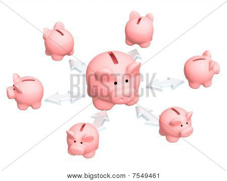 Conceptual image - distribution of finances. 3d poster