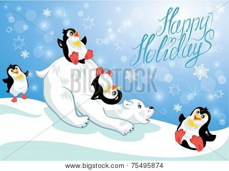 Card With Funny Penguins And Polar Bear On Blue Snow Background, Cartoons For Winter, Christmas Or N