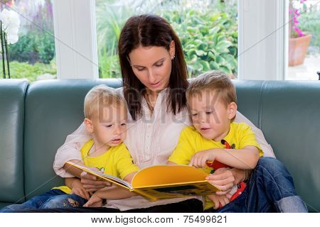 a mother is reading to your children a fairy tale from a book before