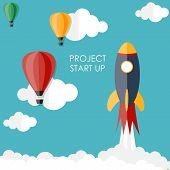 Quick Start Up Flat Concept Vector Illustration. EPS10 poster