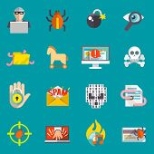 Hacker activity computer and e-mail spam viruses bank account hacking flat icons set isolated vector illustration poster