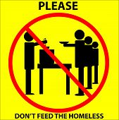 Illustrator 10 square drawing of yellow sign with black figures queuing at soup kitchen table while volunteer ladles from kettle & text: Please Don't Feed The Homeless poster