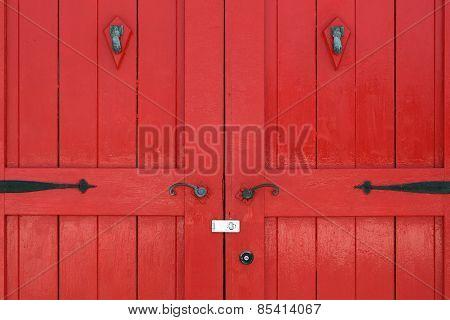 wooden red door