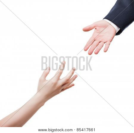 Poverty and social issue concept - businessman giving helping hand to poor begging needy person white isolated