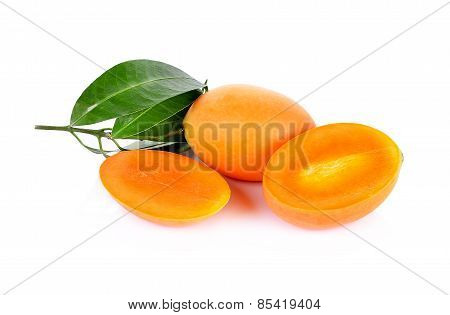 Marian Plum Fruit Isolate On White Background(mayongchid Maprang Marian Plum And Plum Mango,thailand