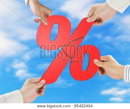 Group Of Business People Assembling Broken Red Percentage With Sky