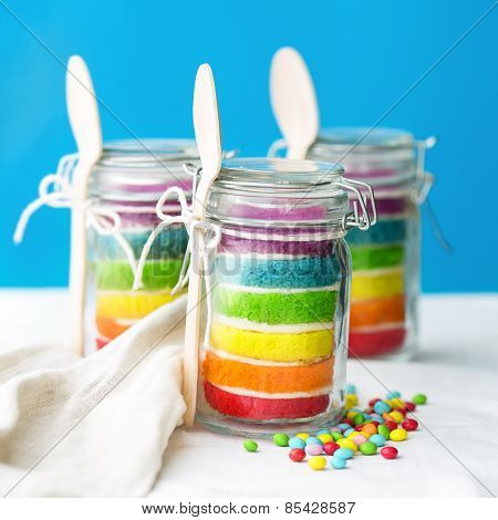 Jars of mini rainbow cake
