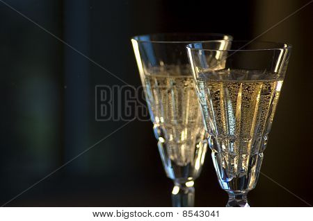 Detail of Two Waterford Champagne Glasses
