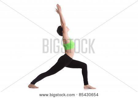 Sporty yoga girl on white background doing lunge exercise Warrior 1 posture Virabhadrasana I back foot on the floor poster