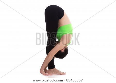 Sporty girl on white background in uttanasana (intense stretch pose forward bend forward fold pose head to knees pose) asana from surya namaskar sequence sun salutation complex poster