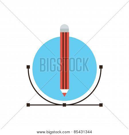 Graphic Design Flat Line Icon Concept