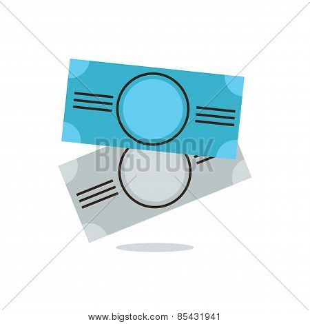 Money Banknotes Flat Line Icon Concept