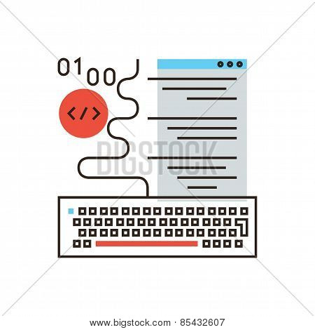 Web Programming Flat Line Icon Concept