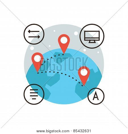 Global Communication Flat Line Icon Concept