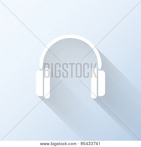 Flat Headphones Icon With Long Shadow. Vector Illustration