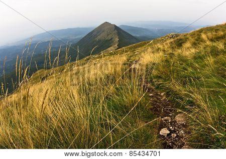 Trekking path from Trem peak to Falcon ridge at Suva Planina mountain
