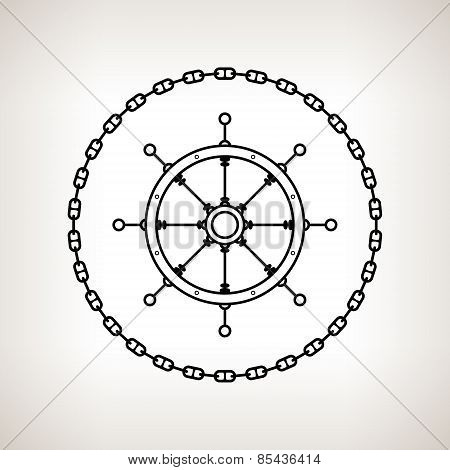 Silhouette Ship's Wheel And Chain