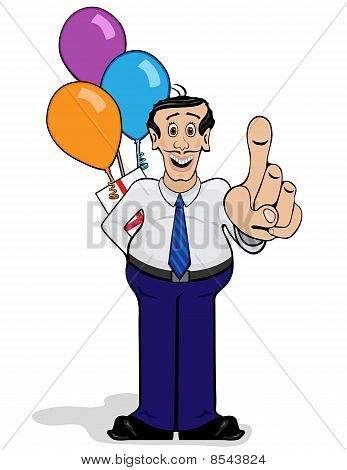 Man With Surpise Gift And Balloons