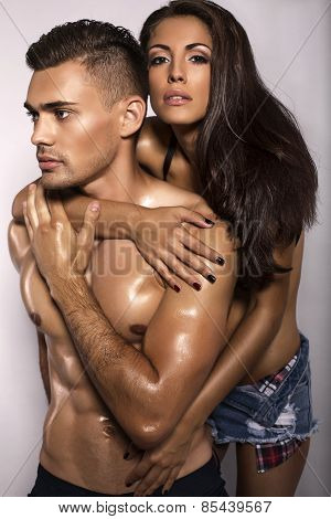 Sexy Impassioned Couple In Jeans Clothes