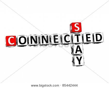 3D Crossword Stay Connected on white background poster