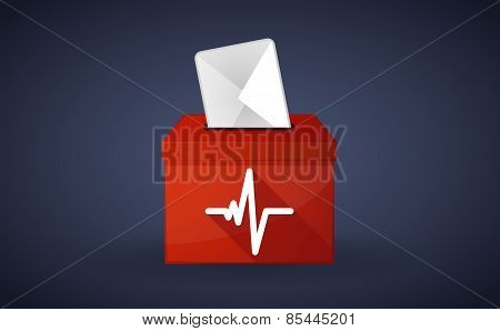 Red Ballot Box With A Heart Beat Sign