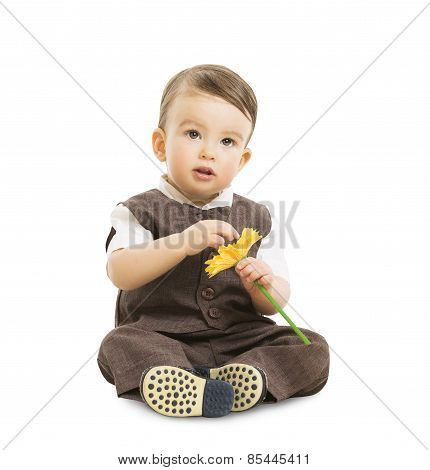 Baby Boy with Flower, Well Dressed Kid in Suit. Children Retro Style, One Year Old Child Sitting Iso