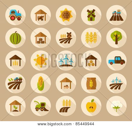 Farm Field Flat Icon With Long Shadow