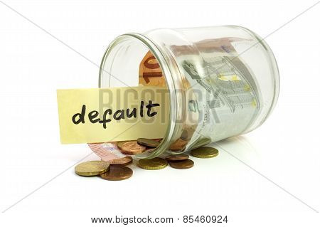 Money in the jar and paper with default on white background