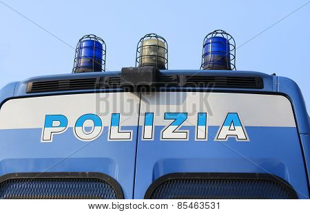 Italian Police Pickup Truck With The Big Written