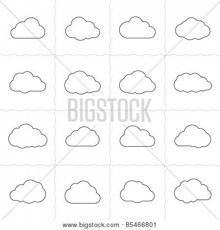 Cloud shapes linear icons. Cloud icons for cloud computing web and app. Simple outlined icons. Linear style