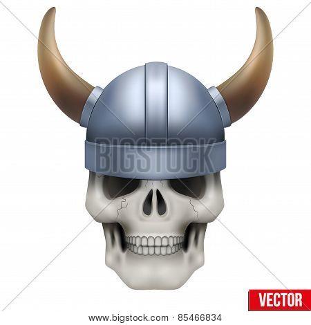 Vector Human skull with viking helmet. Illustration on isolated white background poster