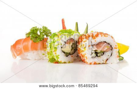 Various kinds of sushi food served on white background