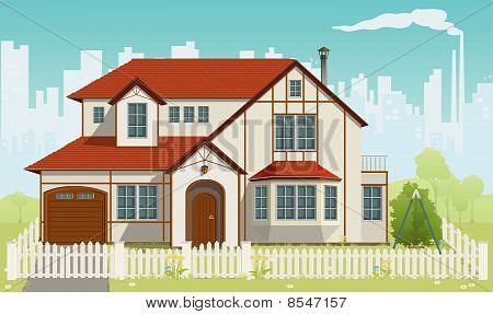 Family House. Vector illustration. EPS8