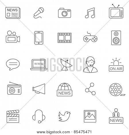 Media line icons set.Vector