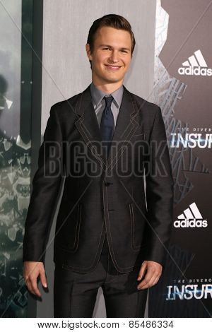 NEW YORK-MAR 16: Actor Ansel Elgort attends the U.S. premiere of