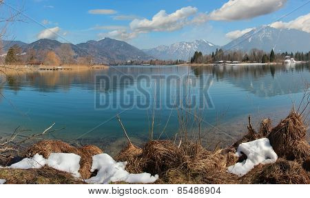 idyllic cove at lake tegernsee early springtime upper bavaria poster