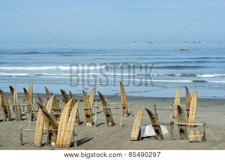 Traditional Peruvian Small Reed Boats