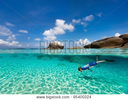 Split photo of little boy snorkeling in turquoise ocean water at tropical island of Virgin Gorda, British Virgin Islands, Caribbean poster