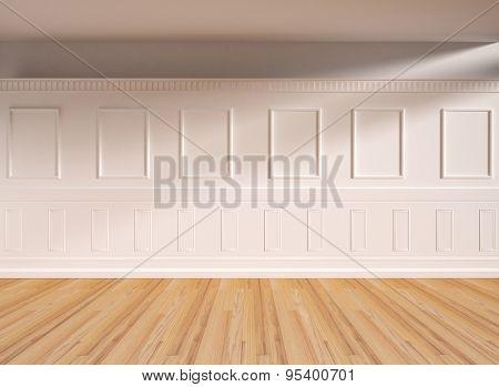 Interior in classic style, parquet floor. 3D illustration