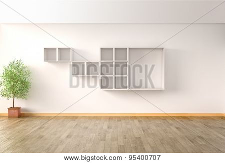 Interior in modern style, wooden floor. 3D illustration
