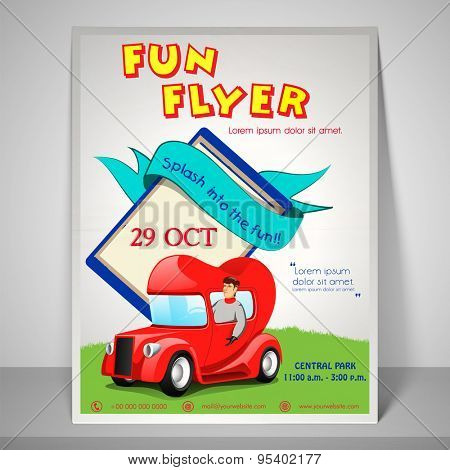 Colourful fun flyer with kiddish car, adress bar, place holder and mailer.